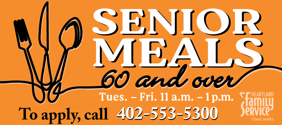 Senior Meals 60 and Over - to apply call 402-553-5300